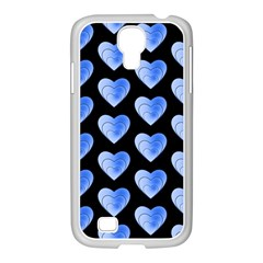 Heart Pattern Blue Samsung Galaxy S4 I9500/ I9505 Case (white) by MoreColorsinLife