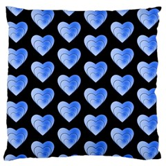 Heart Pattern Blue Standard Flano Cushion Cases (one Side)  by MoreColorsinLife