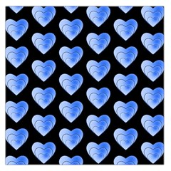 Heart Pattern Blue Large Satin Scarf (square)