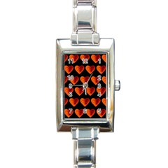 Heart Pattern Orange Rectangle Italian Charm Watches by MoreColorsinLife