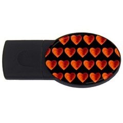 Heart Pattern Orange Usb Flash Drive Oval (4 Gb)  by MoreColorsinLife