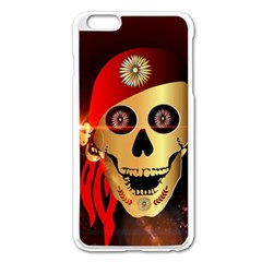 Funny, Happy Skull Apple Iphone 6 Plus Enamel White Case by FantasyWorld7