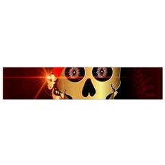 Funny, Happy Skull Flano Scarf (small)  by FantasyWorld7