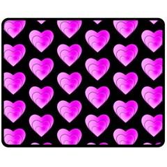 Heart Pattern Pink Fleece Blanket (medium)  by MoreColorsinLife
