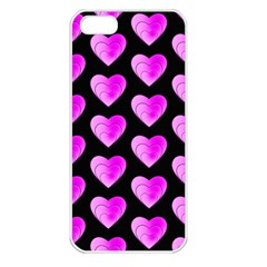 Heart Pattern Pink Apple Iphone 5 Seamless Case (white) by MoreColorsinLife