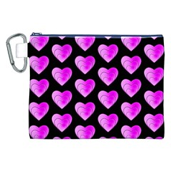 Heart Pattern Pink Canvas Cosmetic Bag (xxl)  by MoreColorsinLife