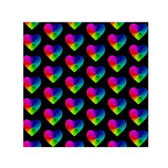 Heart Pattern Rainbow Small Satin Scarf (Square)  by MoreColorsinLife