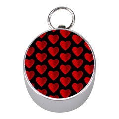 Heart Pattern Red Mini Silver Compasses by MoreColorsinLife