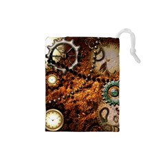 Steampunk In Noble Design Drawstring Pouches (Small)  by FantasyWorld7