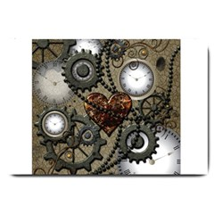 Steampunk With Clocks And Gears And Heart Large Doormat  by FantasyWorld7