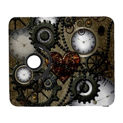 Steampunk With Clocks And Gears And Heart Samsung Galaxy S  III Flip 360 Case by FantasyWorld7