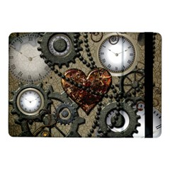Steampunk With Clocks And Gears And Heart Samsung Galaxy Tab Pro 10 1  Flip Case by FantasyWorld7
