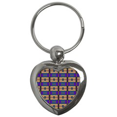 Rectangles And Stripes Pattern Key Chain (heart) by LalyLauraFLM