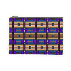 Rectangles and stripes pattern Cosmetic Bag (Large) by LalyLauraFLM