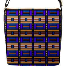 Rectangles And Stripes Pattern Flap Closure Messenger Bag (s) by LalyLauraFLM