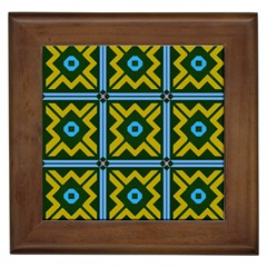 Rhombus In Squares Pattern Framed Tile by LalyLauraFLM