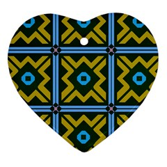 Rhombus In Squares Pattern Heart Ornament (two Sides) by LalyLauraFLM