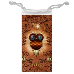Steampunk, Funny Owl With Clicks And Gears Jewelry Bags by FantasyWorld7