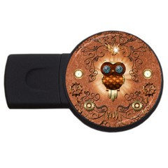 Steampunk, Funny Owl With Clicks And Gears Usb Flash Drive Round (4 Gb)  by FantasyWorld7