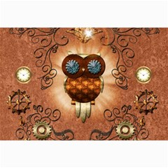 Steampunk, Funny Owl With Clicks And Gears Collage 12  X 18  by FantasyWorld7