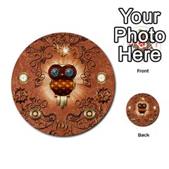Steampunk, Funny Owl With Clicks And Gears Multi Purpose Cards (round)