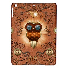 Steampunk, Funny Owl With Clicks And Gears iPad Air Hardshell Cases by FantasyWorld7