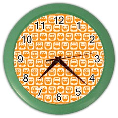 Yellow And White Owl Pattern Color Wall Clocks by creativemom