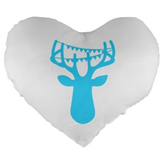 Party Deer With Bunting Large 19  Premium Flano Heart Shape Cushions by CraftyLittleNodes