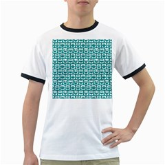 Teal And White Owl Pattern Ringer T Shirts by creativemom