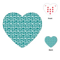 Teal And White Owl Pattern Playing Cards (Heart)