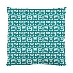 Teal And White Owl Pattern Standard Cushion Case (one Side)  by creativemom