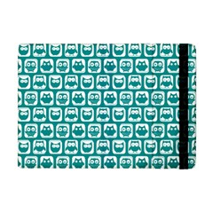 Teal And White Owl Pattern Apple Ipad Mini Flip Case by creativemom