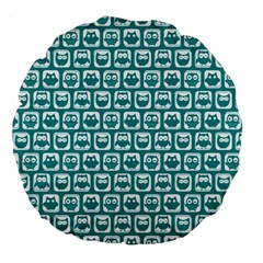 Teal And White Owl Pattern Large 18  Premium Flano Round Cushions by creativemom