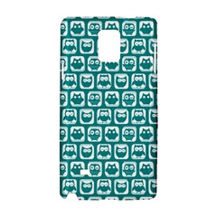 Teal And White Owl Pattern Samsung Galaxy Note 4 Hardshell Case by creativemom