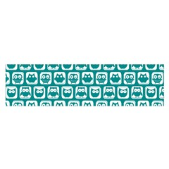 Teal And White Owl Pattern Satin Scarf (oblong) by creativemom