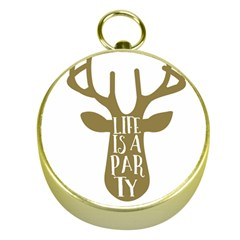 Life Is A Party Buck Deer Gold Compasses by CraftyLittleNodes