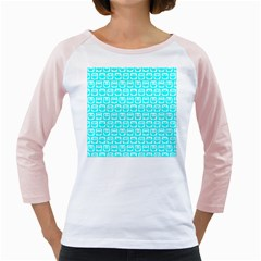 Aqua Turquoise And White Owl Pattern Girly Raglans by creativemom