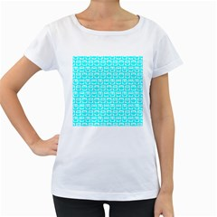 Aqua Turquoise And White Owl Pattern Women s Loose Fit T Shirt (white) by creativemom
