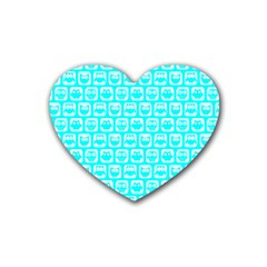 Aqua Turquoise And White Owl Pattern Heart Coaster (4 Pack)  by creativemom