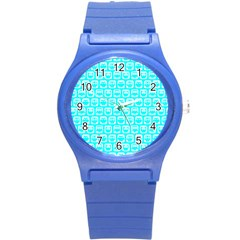 Aqua Turquoise And White Owl Pattern Round Plastic Sport Watch (s) by creativemom