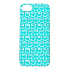 Aqua Turquoise And White Owl Pattern Apple Iphone 5s Hardshell Case by creativemom