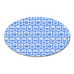 Blue And White Owl Pattern Oval Magnet by creativemom