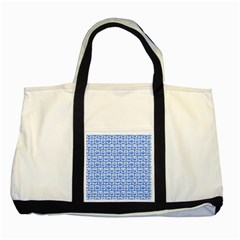 Blue And White Owl Pattern Two Tone Tote Bag  by creativemom