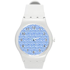 Blue And White Owl Pattern Round Plastic Sport Watch (m) by creativemom