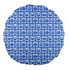 Blue And White Owl Pattern Large 18  Premium Round Cushions by creativemom