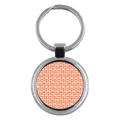 Coral And White Owl Pattern Key Chains (Round)  by creativemom