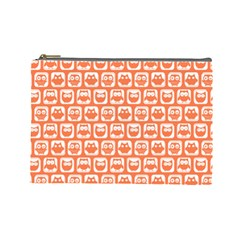 Coral And White Owl Pattern Cosmetic Bag (large)  by creativemom