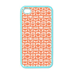 Coral And White Owl Pattern Apple Iphone 4 Case (color)