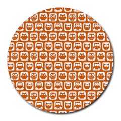 Orange And White Owl Pattern Round Mousepads by creativemom