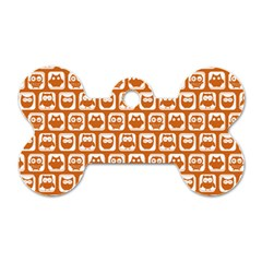 Orange And White Owl Pattern Dog Tag Bone (two Sides) by creativemom